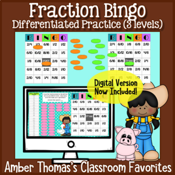 math fractions games for kids bingo by amber thomas tpt