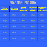 Math Fractions Jeopardy
