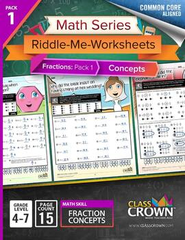 Math Fractions Worksheets - Math Riddles - Pack 1 Concepts 4th–7th - Common Core