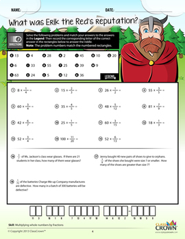 Fractions Worksheets - Math Riddles - Pack 3 Multiply & Divide - 4th–7th Grade