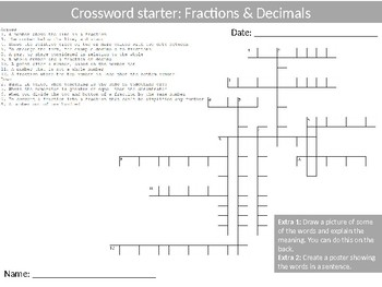 Math Fractions and Decimals Wordsearch Crossword Anagram Alphabet Keyword