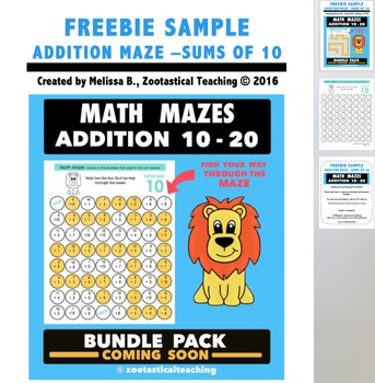 Math Fun - Addition Math Mazes Sample - Sums of 10