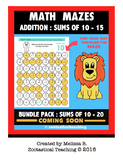 Math Fun - Addition Math Mazes - Sums of 10 - 15