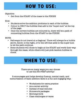 Math Fun - Addition Math Mazes - Sums of 10 - 15