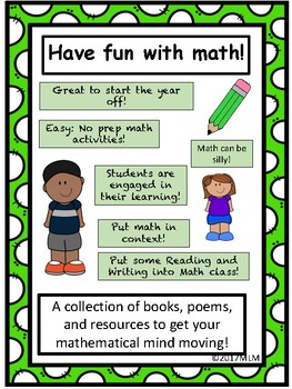 Math Fun! An Assortment of Activities w/Literature. Get your math minds moving!