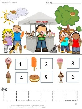 Ice Cream, Math Cut and Paste Activities, Special Education Math, Math Centers