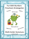 Back to School Early Childhood Math Centers Special Education Math Kindergarten
