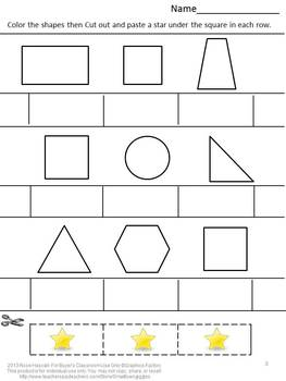 Shapes Cut and Paste Fine Motor Skills Activities P-K, K, Special Education Math
