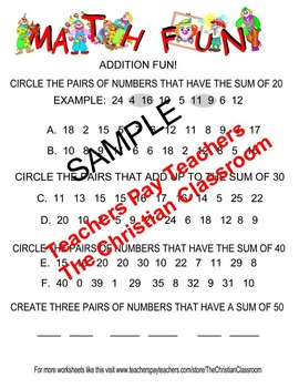 Math Fun Worksheet Addition