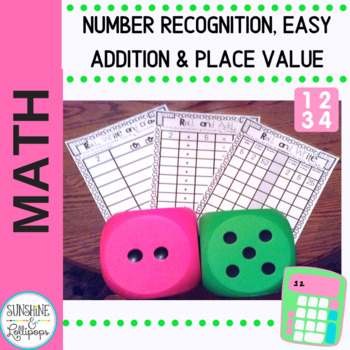 Math Fact Dice Game: Roll,Write,Draw for K-1 or Interventions