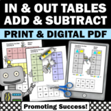 In and Out Tables, Addition and Subtraction Cut and Paste Worksheets