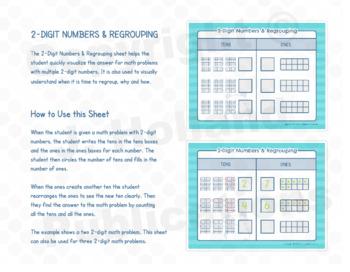 "Math Fundamentals Toolbox: Sheets ""1 and 2 Digit Numbers & Regrouping"""