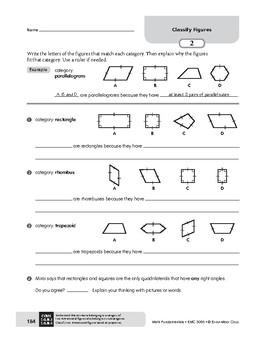 Math Fundamentals Unit: Classify Figures, Grade 5