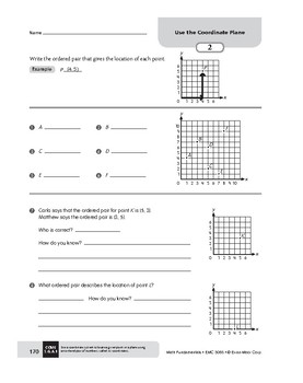 Math Fundamentals Unit: Use the Coordinate Plane, Grade 5