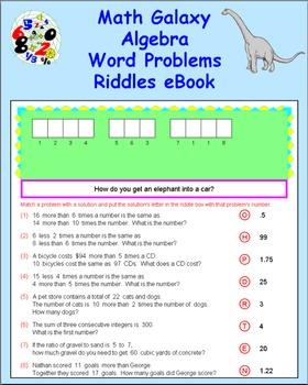 Math Galaxy Algebra Word Problems Riddles eBook