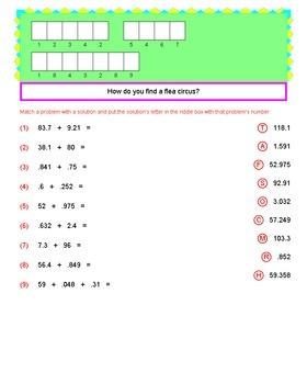 Math Galaxy Decimal Operations Riddles eBook