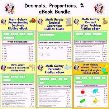 Math Galaxy Decimals, Proportions, Percents Riddles eBook Bundle