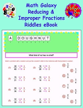 Math Galaxy Reducing & Improper Fractions Riddles eBook