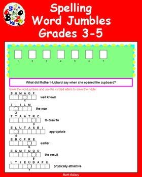 Math Galaxy Spelling Jumbles Grades 3-5
