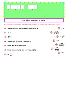 Math Galaxy Understanding Decimals Riddles eBook
