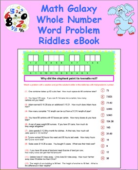 Math Galaxy Whole Number Word Problems Riddles eBook