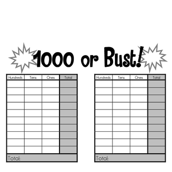 Math Game:  100 or Bust/1000 or Bust