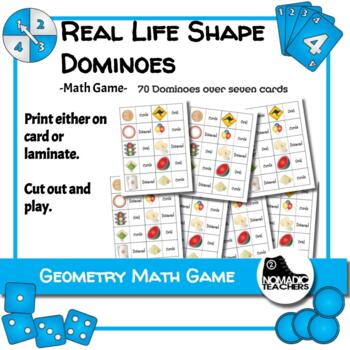 Math Game - 2D Shape Real Life Example Dominoes