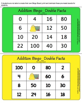 Math Game: Addition Bingo - Double Facts