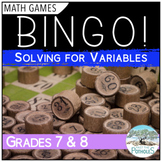 Math Game - BINGO - Solving Variables - Patterning and Algebra