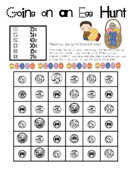 Math Game Board - Easter - Going on an Egg Hunt