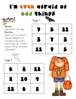 Math Game Board - Even and Odd during Halloween