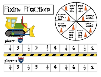 Math Game Board - Fractions to Fix