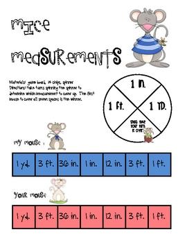 Math Game Board - Mice Measurements