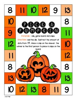 game board math pick a pumpkin by lory evans tpt