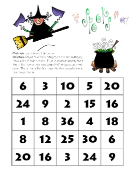 Math Game Board - Spooks Are Out!