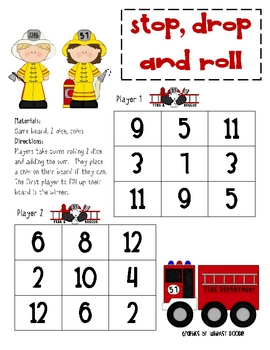 Game Board Math - Stop, Drop and Roll