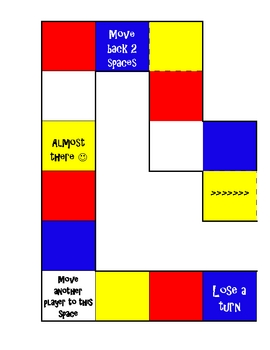 Math Game Board - Subtraction Primary Colors
