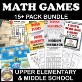 Math Game Bundle: For upper Elementary and Middle School - 10 Math Games.