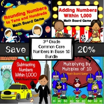 3rd Grade Math Activities: 3rd Grade Math Games Bundle for Numbers in Base 10