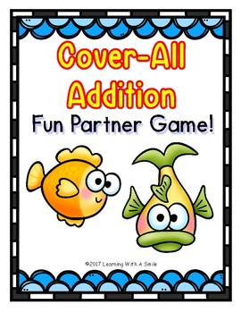 Math Game COVER-ALL ADDITION: Dice Game for Partners (Aquatic Theme)