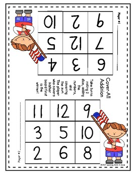 Math Game - Dice Game for Partners (Patriotic Theme)
