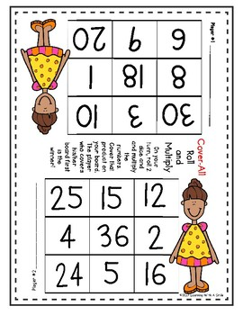 Math Game COVER-ALL MULTIPLICATION: Dice Game for Partners – Great Center!
