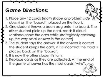 Math Game Cards addition subtraction shapes flash cards Review Activity