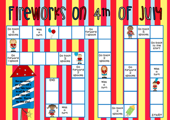 Fireworks on 4th July (4th July Themed Game Board)