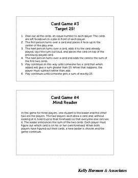 Math Game Center Cards (4 Games)