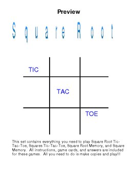Math Game Combo-Absolute Value/Square Roots