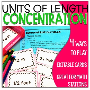 Math Game Concentration Units of Length