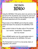 Math Game: Decimal BINGO (learn place value and how to read decimals)