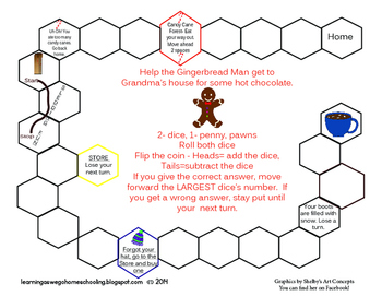 Math Game - Gingerbread Man - Addition and Subtraction