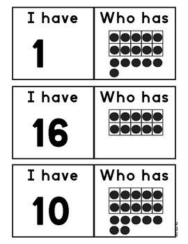 Math Game I have who has Numbers 1-20